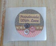 "Наклейка 3,5 см ""Handmade with love"" (6)"
