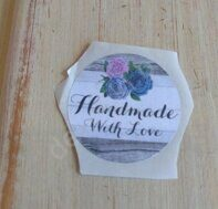 "Наклейка 3,5 см ""Handmade with love"" (5)"