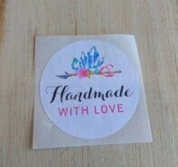"Наклейка 3,5 см ""Handmade with love"""